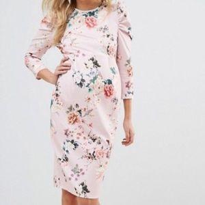 Asos maternity pink puffed sleeve dress